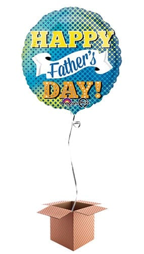 Happy Fathers Day Round Foil Balloon – Inflated Balloon in a Box