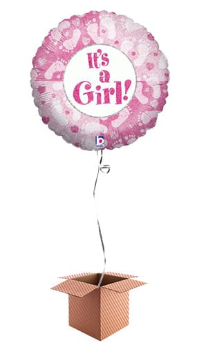 Its A Girl Footprints Design Round Foil Balloon - Inflated Balloon in a Box