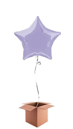 Lavender Star Shape Foil Balloon - Inflated Balloon in a Box