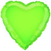 Lime Green Heart Shape Foil Helium Balloon 46cm / 18Inch