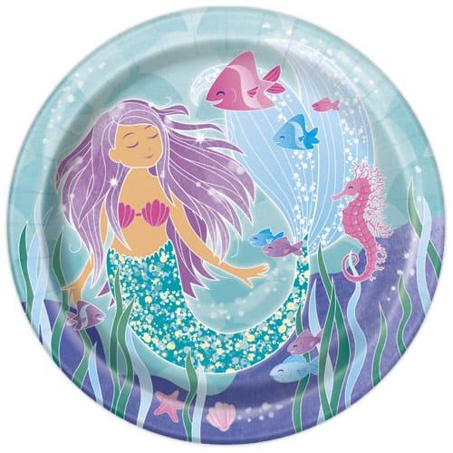 Mermaid Round Paper Plates 22cm - Pack of 8