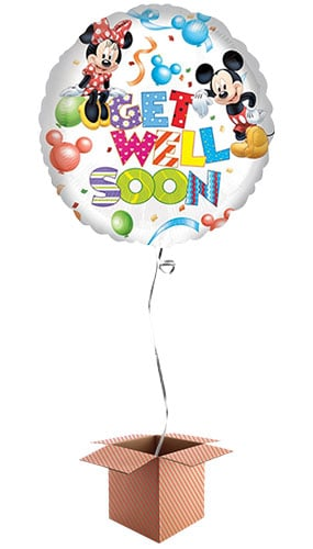 Mickey & Minnie Get Well Soon Foil Balloon - Inflated Balloon in a Box