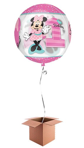 Minnie Mouse 1st Birthday Girl Clear Orbz Balloon - Inflated Balloon in a Box