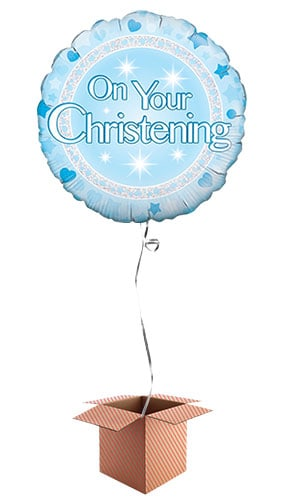 On Your Christening Blue Round Foil Balloon - Inflated Balloon in a Box