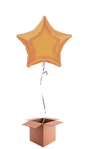 Orange Star Shape Foil Balloon - Inflated Balloon in a Box