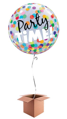 Party Time Dots Bubble Helium Qualatex Balloon - Inflated Qualatex Balloon in a Box Product Image