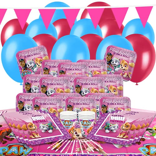 Paw Patrol Pink 16 Person Delux Party Pack