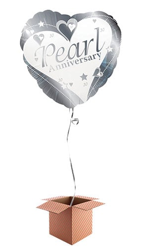 Pearl Wedding Anniversary Heart Shape Foil Balloon - Inflated Balloon in a Box