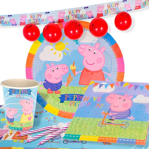 Peppa Pig Theme 8 Person Delux Party Pack