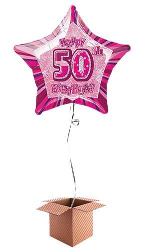 Pink 50th Birthday Prismatic Star Shape 20 Inch