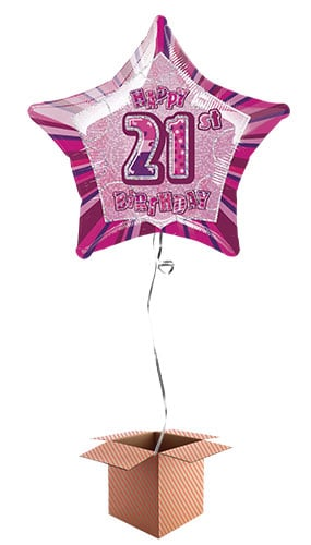 Pink Glitz 21st Birthday Prismatic Star Shape Foil Balloon - Inflated Balloon in a Box Product Image
