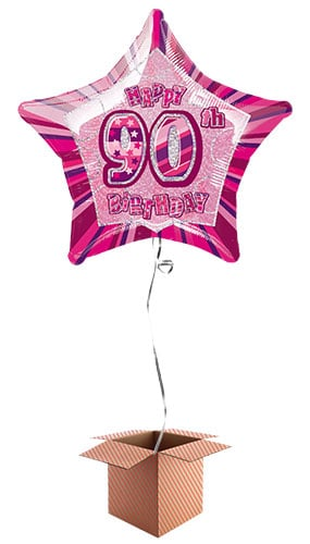 Pink Glitz 90th Birthday Prismatic Star Shape Foil Balloon – Inflated Balloon in a Box