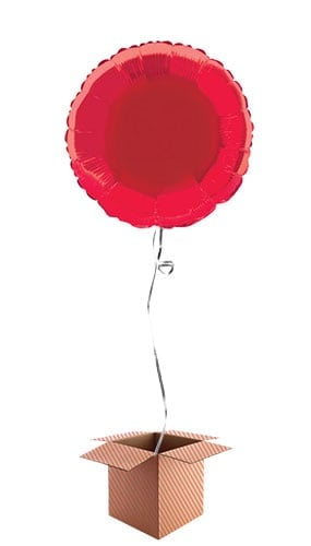 Red Round Foil Balloon - Inflated Balloon in a Box