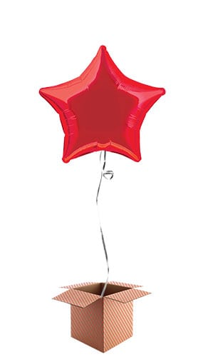 Red Star Shape Foil Balloon - Inflated Balloon in a Box