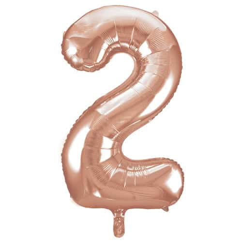 Rose Gold Number 2 Helium Foil Giant Balloon 86cm / 34 in Bundle Product Image