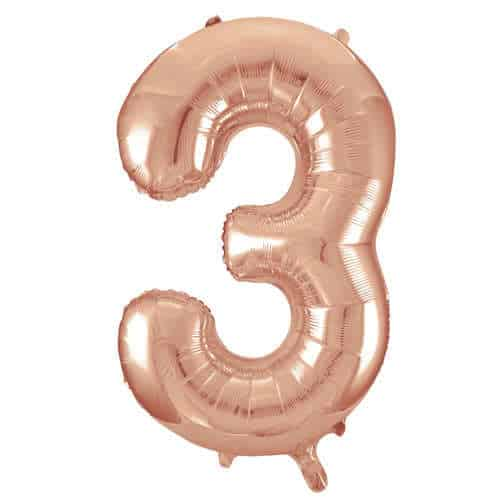 Rose Gold Number 3 Helium Foil Giant Balloon 86cm / 34 in Product Image
