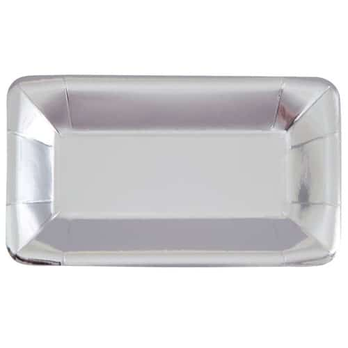 Silver Foil Rectangular Appetizer Plate 23cm Pack of 8