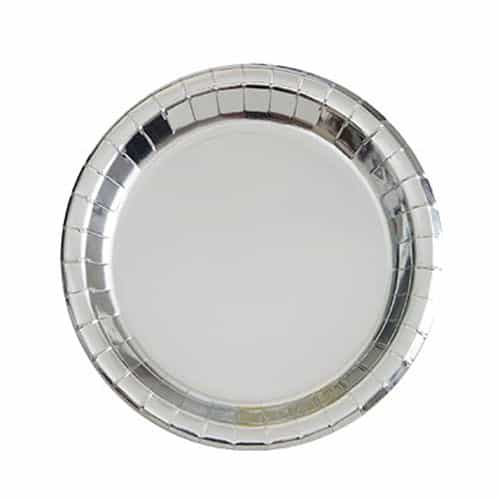 Silver Foil Round Paper Plates 17cm - Pack of 8