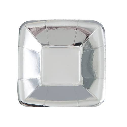 Silver Foil Square Appetizer Plate 12cm Pack of 8