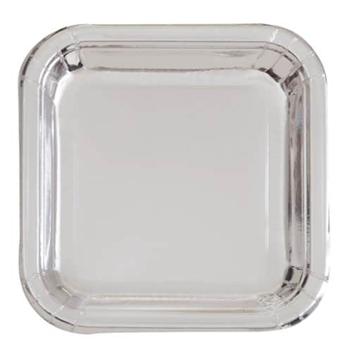 Silver Foil Square Paper Plates 17cm - Pack of 8