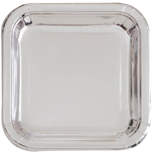 Silver Foil Square Paper Plates 22cm - Pack of 8