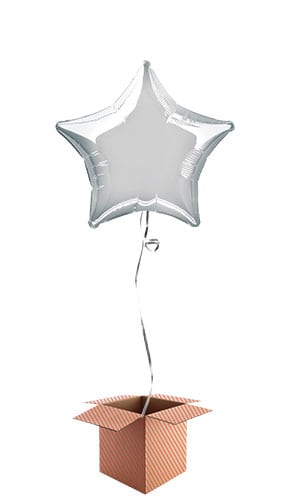 Silver Star Shape Foil Balloon - Inflated Balloon in a Box
