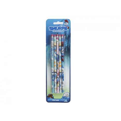 Smurfs Pencils With Erasers - Pack of 5
