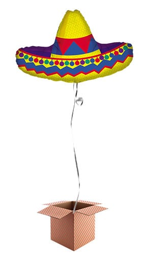 Sombrero Helium Foil Giant Balloon - Inflated Balloon in a Box