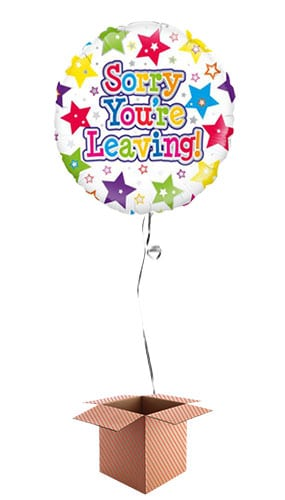 Sorry You're Leaving Stars Round Foil Balloon - Inflated Balloon in a Box