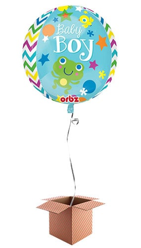 Sweet Baby Boy Orbz Foil Balloon - Inflated Balloon in a Box