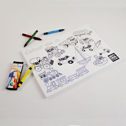 Transport Themed A4 Colouring sheet With 4 Crayons Product Image
