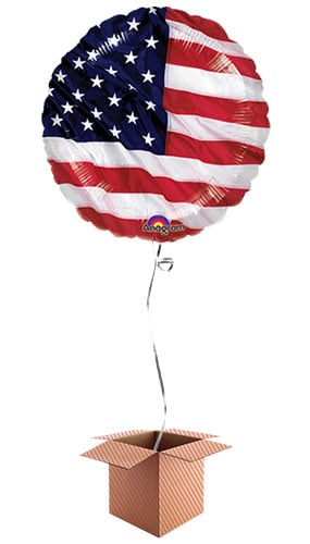 USA Flying Colours Round Foil Balloon - Inflated Balloon in a Box