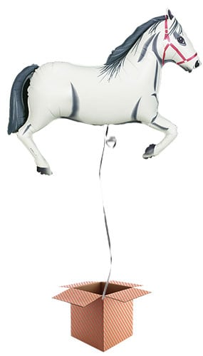 White Horse Helium Foil Giant Balloon - Inflated Balloon in a Box
