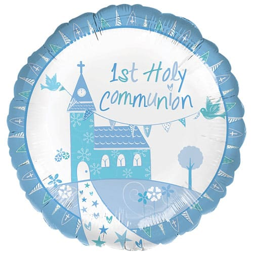 1st Holy Communion Blue Round Foil Balloon 43cm Product Image