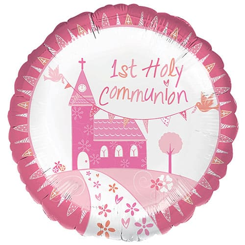 1st Holy Communion Pink Round Foil Balloon 43cm