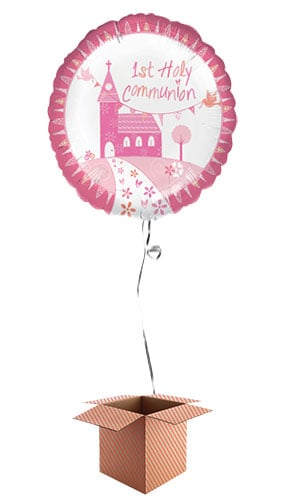 1st Holy Communion Pink Round Foil Balloon - Inflated Balloon in a Box