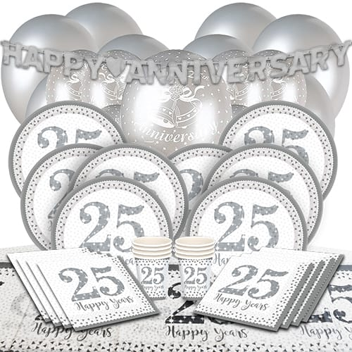 25th Silver Wedding Anniversary Party Supplies 16 Person