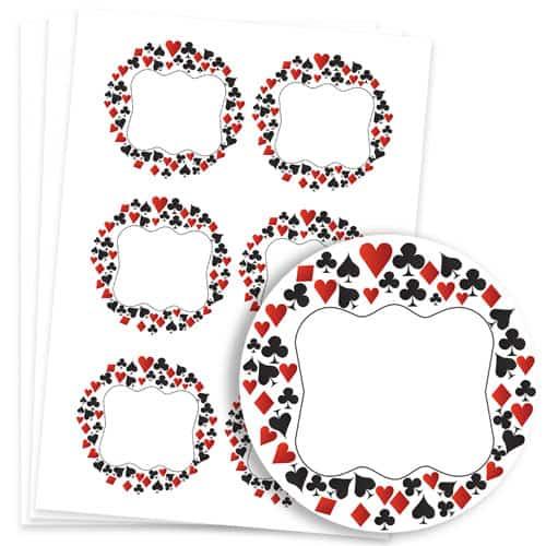 Casino Design 95mm Round Sticker sheet of 6