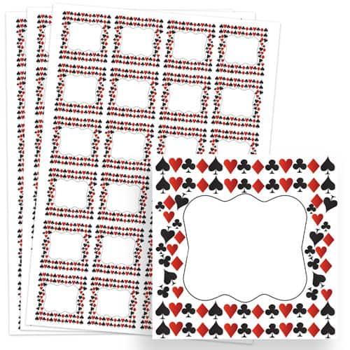 Casino Design 40mm Square Sticker sheet of 24