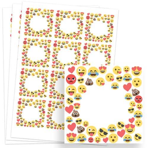 Emoji Design 65mm Square Sticker sheet of 12