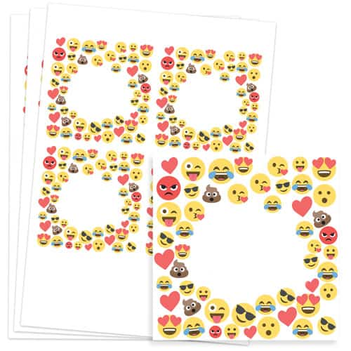 Emoji Design 95mm Square Sticker sheet of 4
