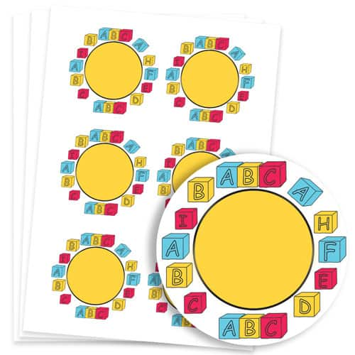 Building Blocks Design 95mm Round Sticker sheet of 6