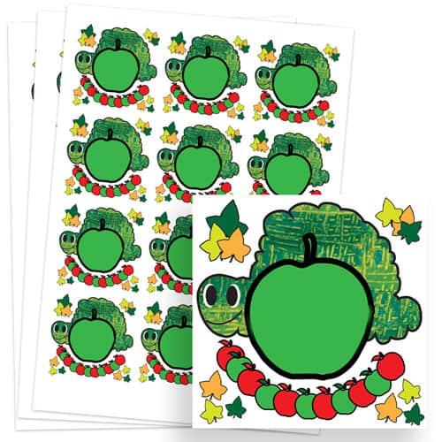 Caterpillar Design 65mm Square Sticker sheet of 12