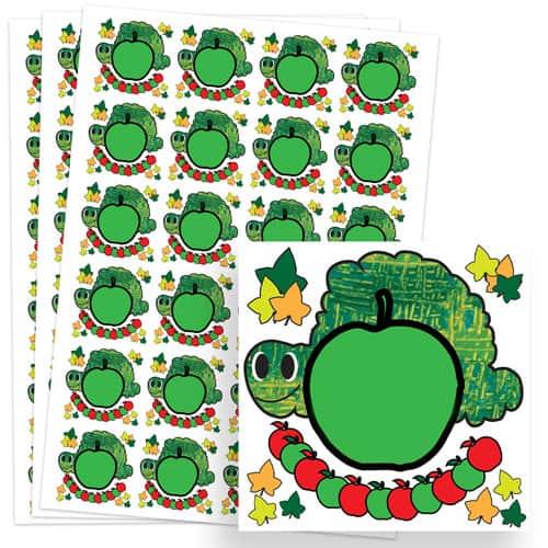 Caterpillar Design 40mm Square Sticker sheet of 24
