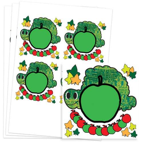 Caterpillar Design 95mm Square Sticker sheet of 4