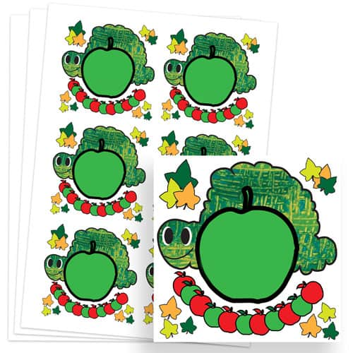 Caterpillar Design 80mm Square Sticker sheet of 6