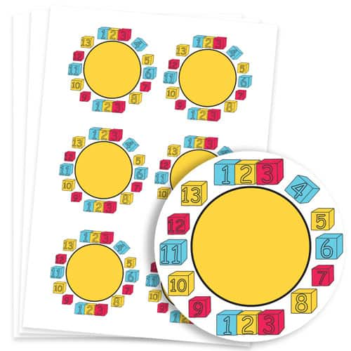Numbers Design 95mm Round Sticker sheet of 6
