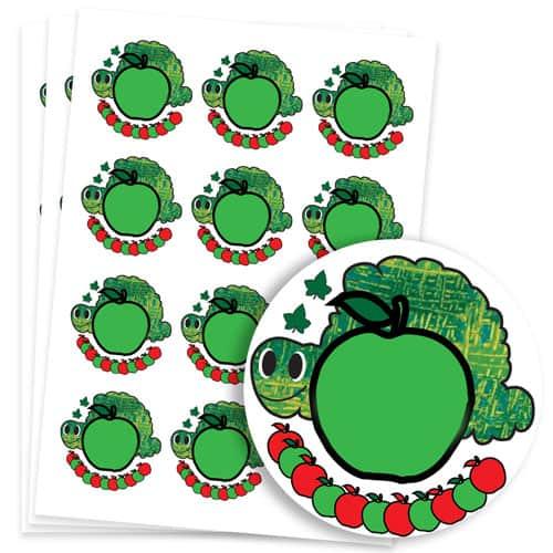 Caterpillar Design 60mm Round Sticker sheet of 12