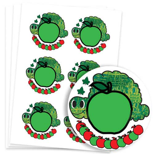 Caterpillar Design 95mm Round Sticker sheet of 6