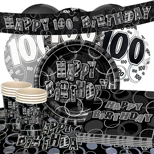 black-glitz-100th-birthday-party-supplies-16-person-deluxe-party-pack